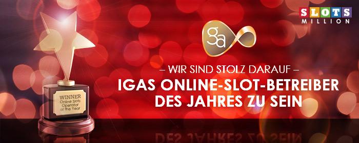 Wir sind der IGA Online Slot Betreiber des Jahres!