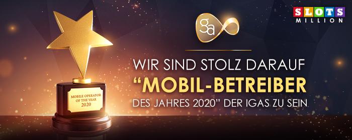 """SlotsMillion ist """"Mobil-Betreiber des Jahres 2020"""" der IGAS"""