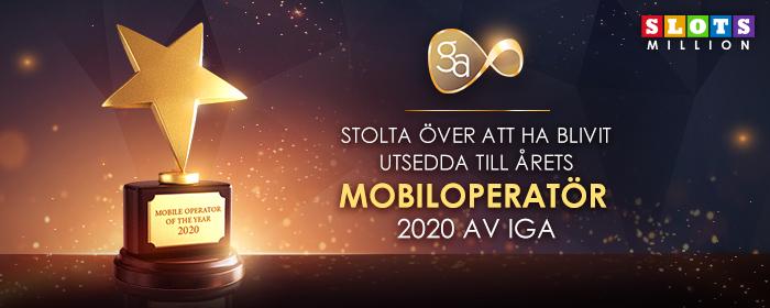 SlotsMillion utsedd Till Årets Mobiloperatör 2020 av IGA
